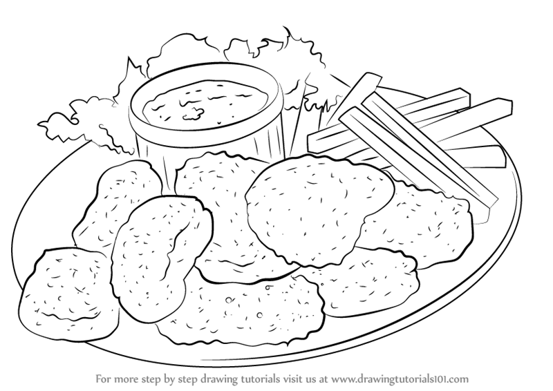 800x566 Learn How To Draw Chicken Nuggets (Snacks) Step By Step Drawing