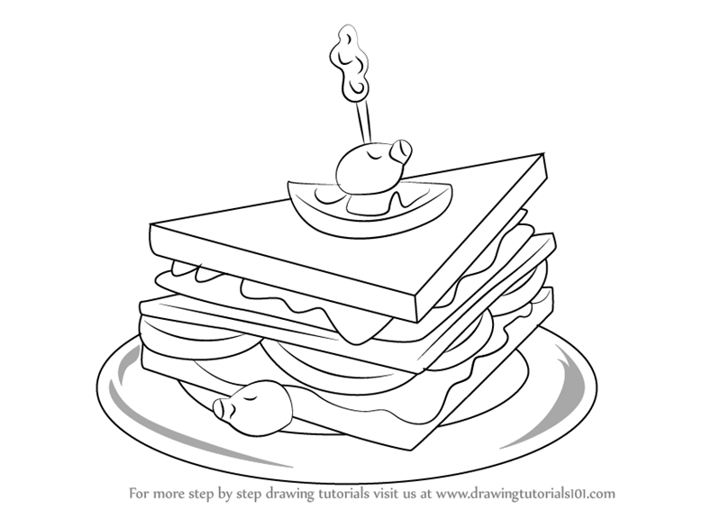 800x566 Learn How To Draw A Club Sandwich (Snacks) Step By Step Drawing