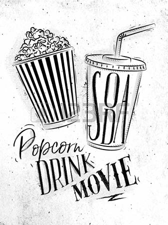 337x450 Poster Cinema Snacks Lettering Popcorn, Drink, Movie In Vintage