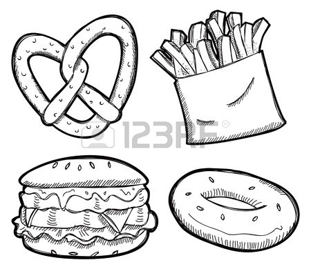 450x390 Set Of Fast Food Hand Drawn Vector Illustration On Blue Background