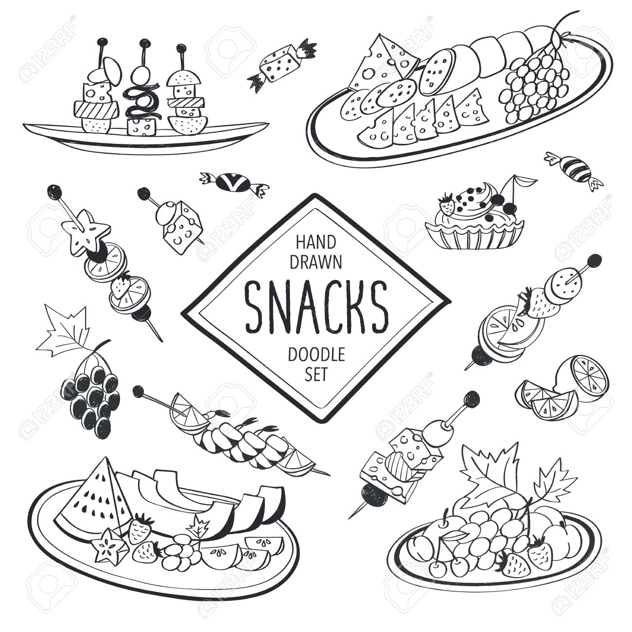 1300x1300 Buffet Snacks Doodle Set. Hand Drawn Food Icons Isolated On White