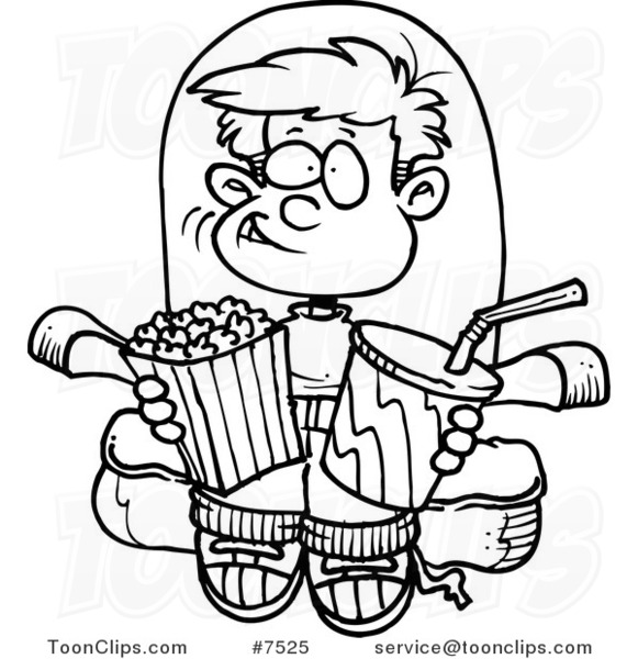 581x600 Cartoon Black And White Line Drawing Of A Boy With Movie Snacks