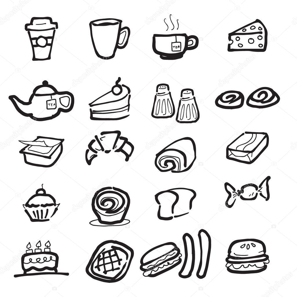 1024x1024 Coffee Break And Snacks Drawing Icons Set Stock Vector Tawesit