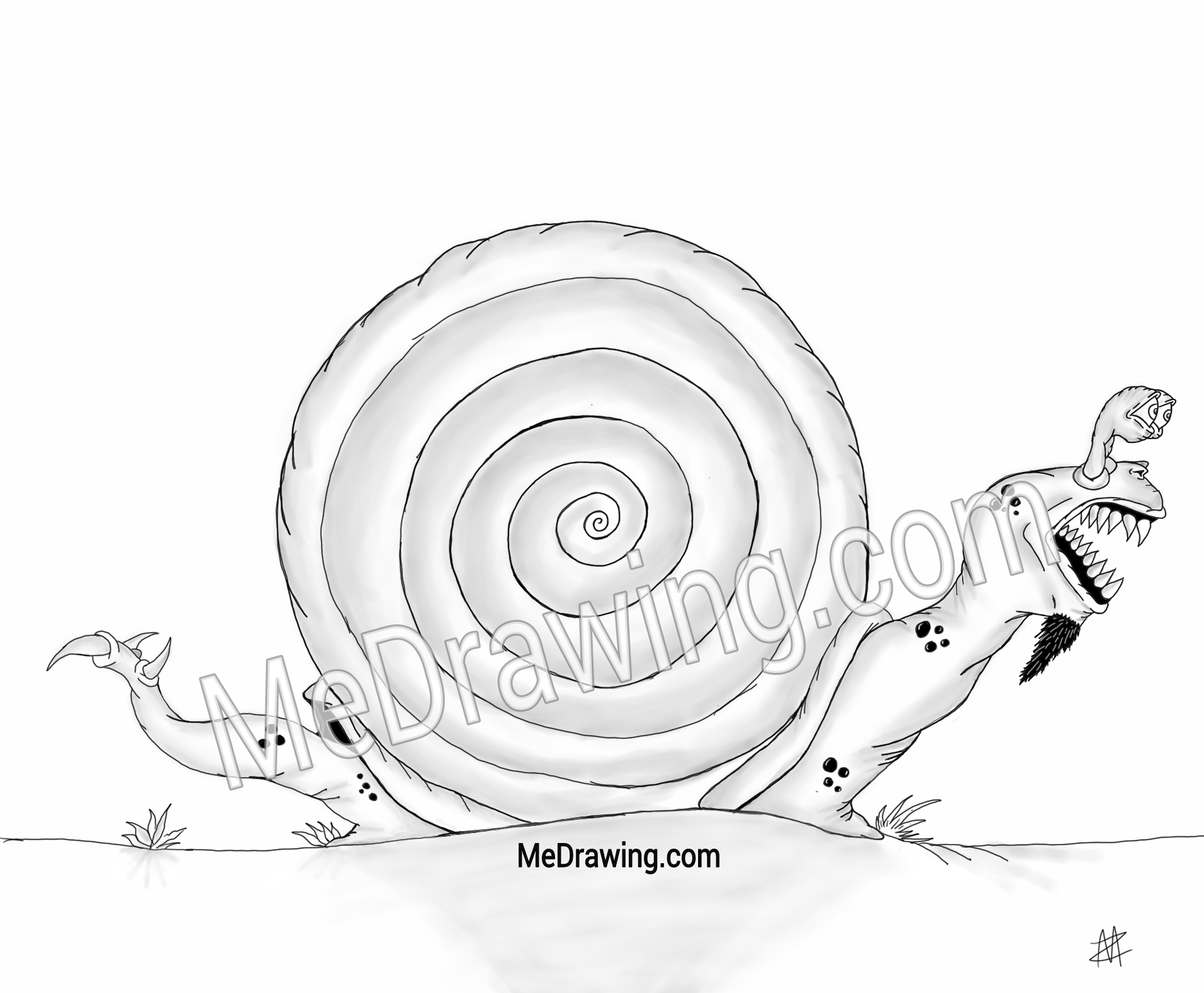 1911x1576 Evil Snail Drawing