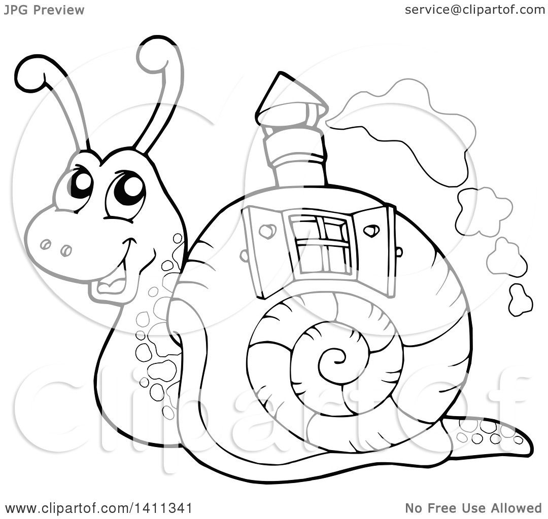 1080x1024 Clipart Of A Black And White Snail With A House Shell