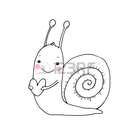 450x450 Cute Cartoon Snail With Heart. Funny Insect. Hand Drawing Isolated