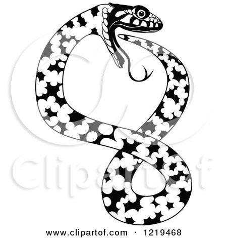 450x470 Clipart Of A Black And White Tribal Double Snake Tattoo Design
