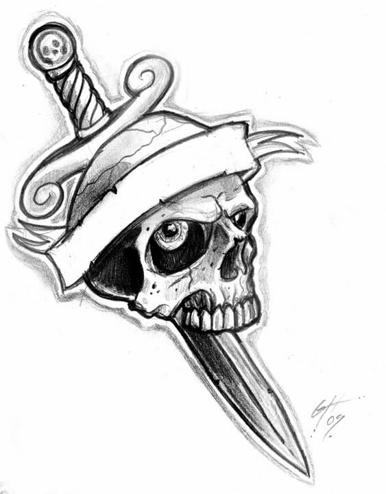563x720 35+ Knife And Dagger Tattoo Designs