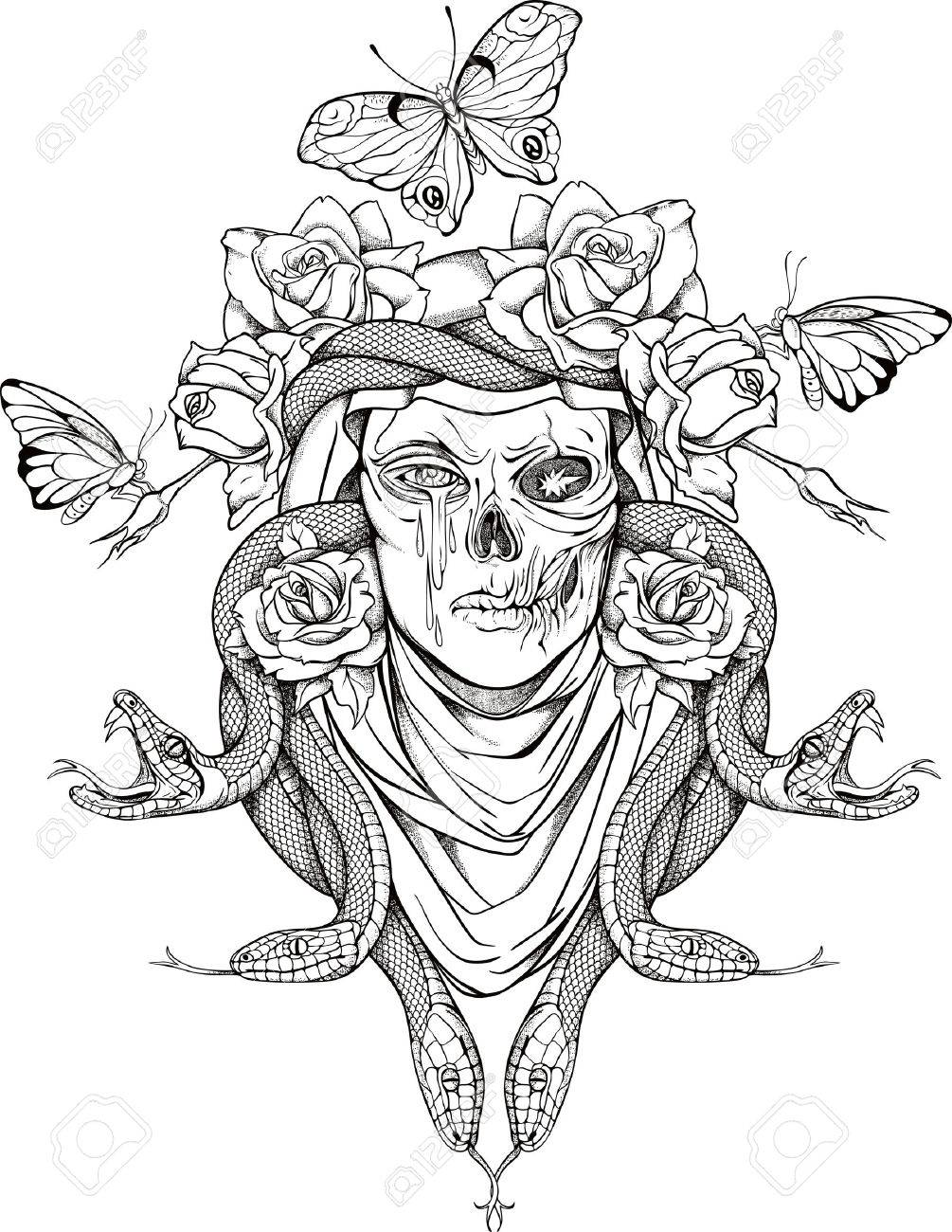 1005x1300 Illustration With Woman Skull, Snakes, Butterflies And Flowers