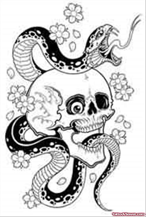 500x744 Skull And Snake Tattoo Design Tattoo