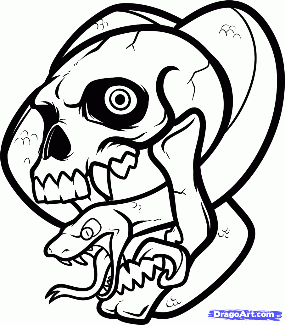 906x1034 Skull Drawing For Kids How To Draw A Skull Snake Skull