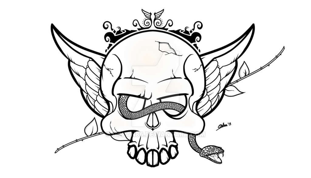 1024x587 Skull and Snake Lineart by CoLaN86 on DeviantArt