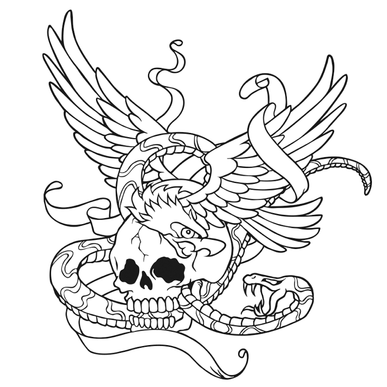 768x768 Skull with Wings and Snake coloring page tattoo Colorfy app