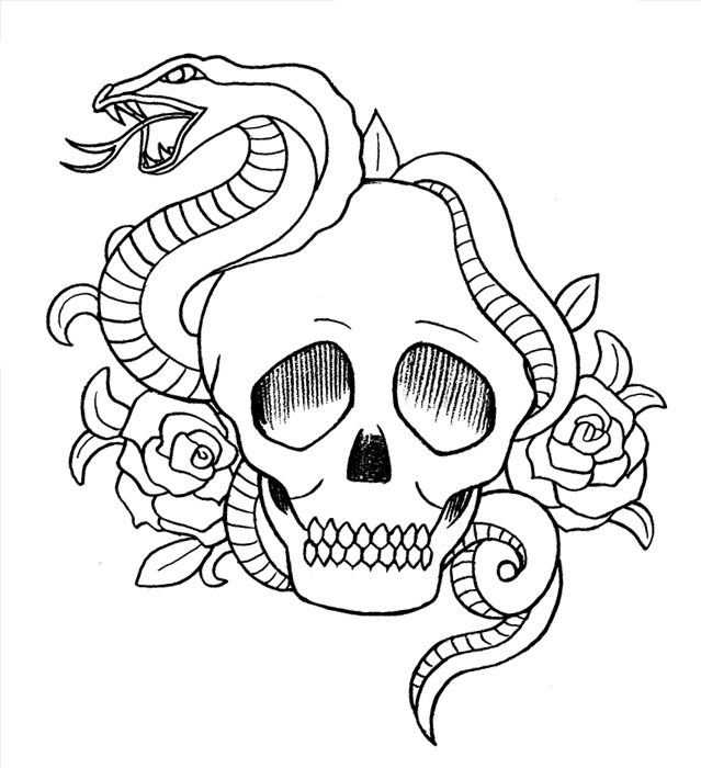 639x700 Snake,Skull and Roses by buzujima on DeviantArt