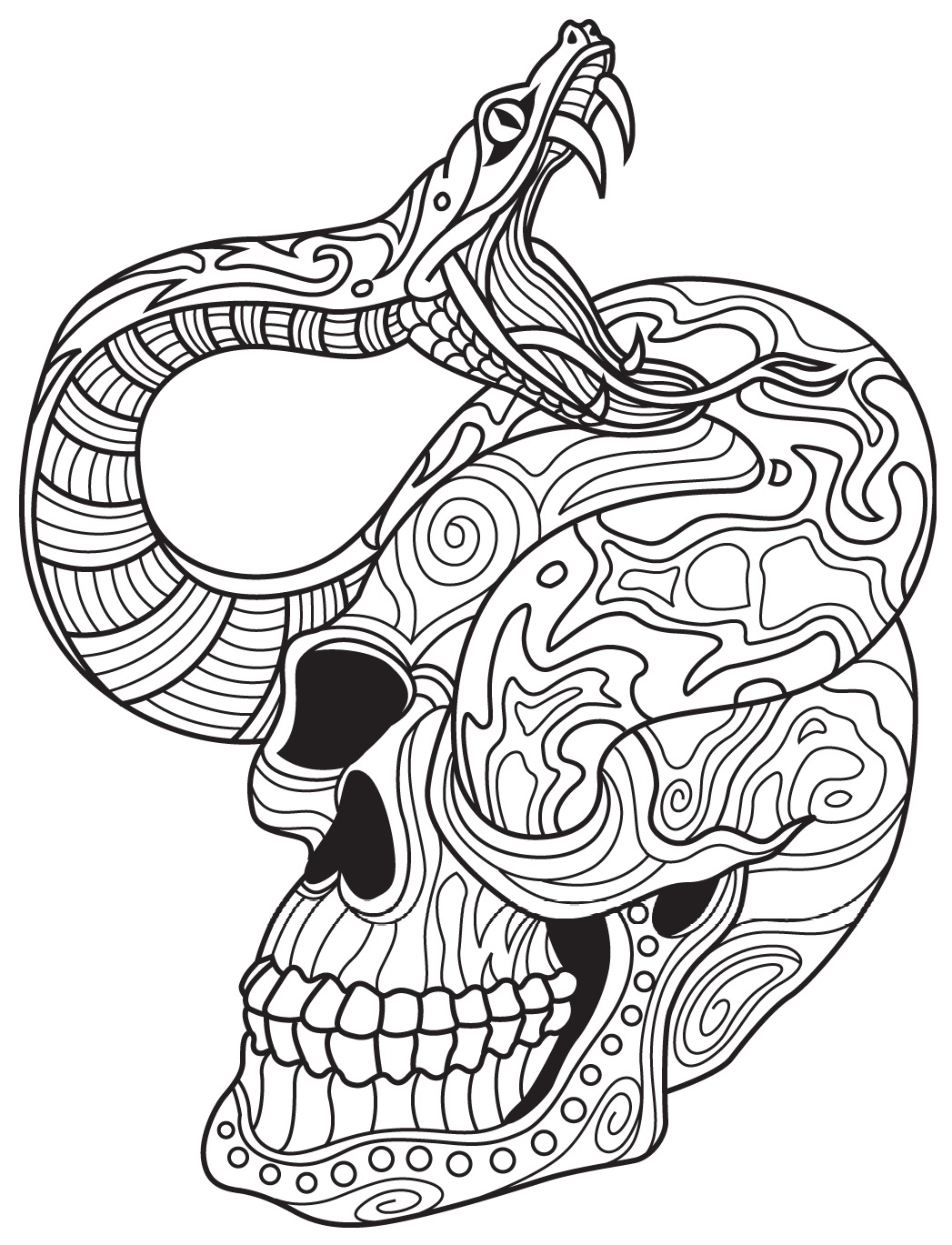1047x1369 Snake and Skull Colorish coloring book app for adults by