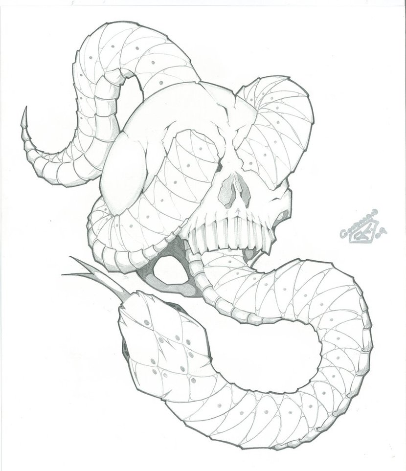 830x963 Snake with Skull Tattoo Design for Flash by ICGREEN on DeviantArt