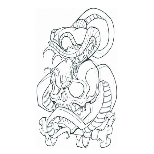 500x500 snake tattoo flash