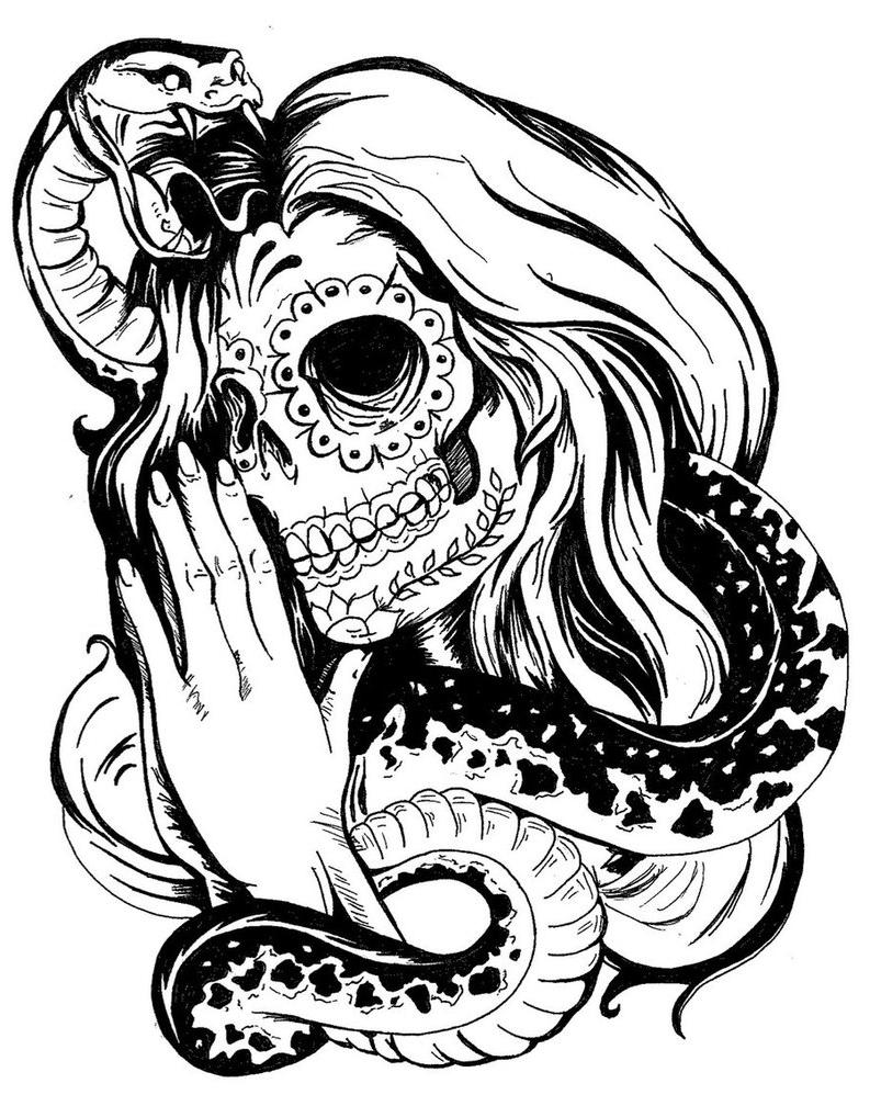 793x1008 Girl Skull Tattoo Designs Snake And Girl Sugar Skull Tattoo Design