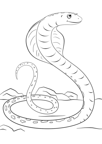 340x480 Cute Cartoon Cobra Coloring Page Free Printable Pages