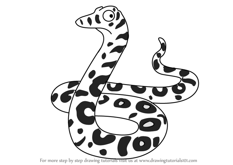 800x566 Learn How to Draw Snake from The Gruffalo (The Gruffalo) Step by