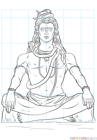 399x575 How To Draw Lord Shiva Step By Step Drawing Tutorials