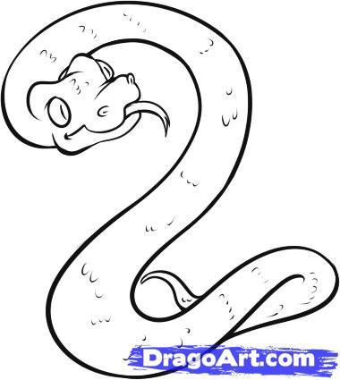 380x425 How To Draw A Water Snake On Paper With A Pencil Step By Step