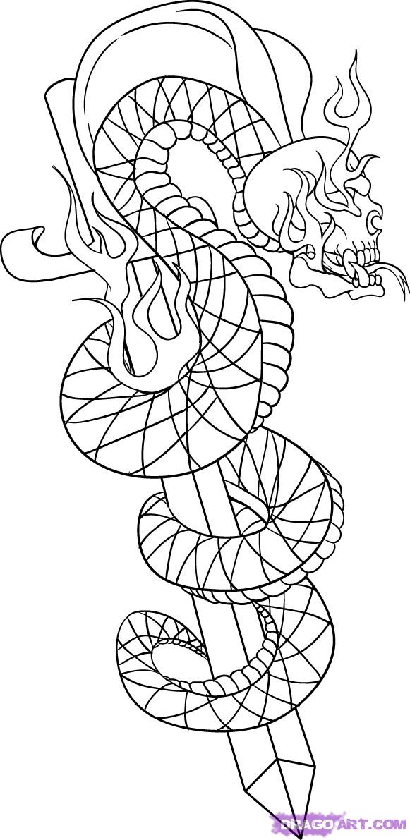 581x1191 Tattoo Art Sword Snake Skull Basic Drawing