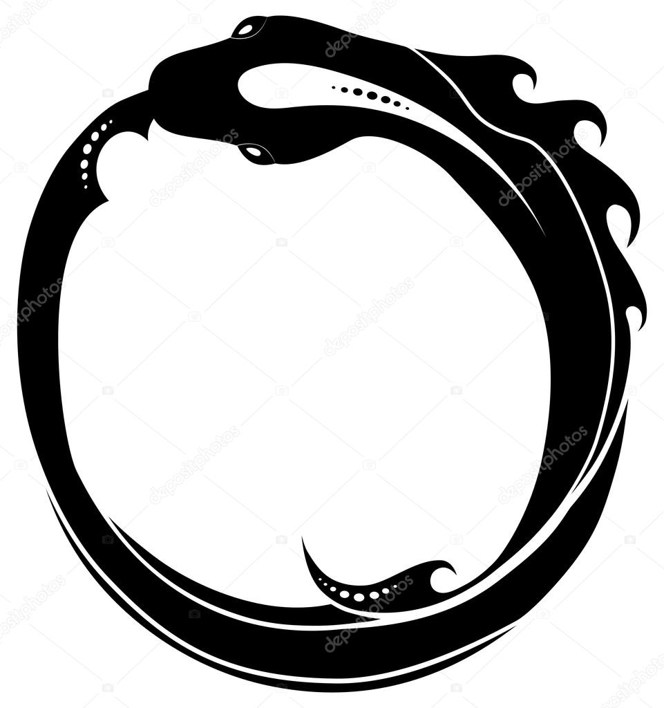961x1024 Ouroboros (Snake Eating Its Own Tail) Tattoo Isolated Stock