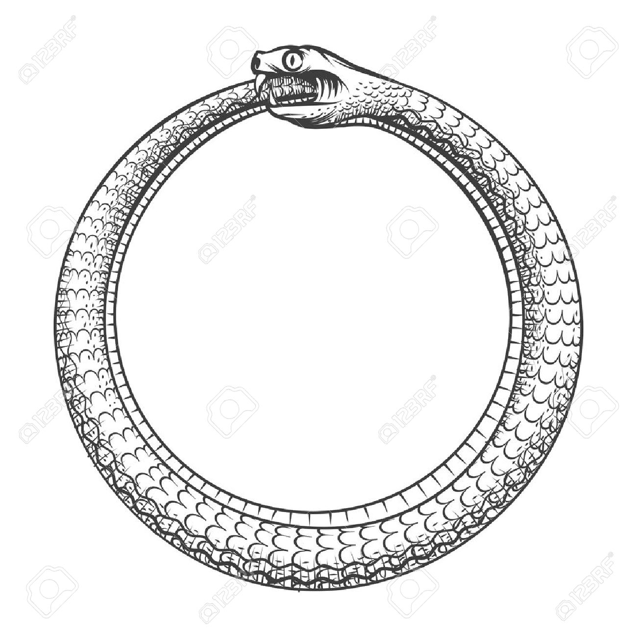 1300x1300 Magic Symbol Of Ouroboros. Tattoo With Snake Biting Its Own Tail