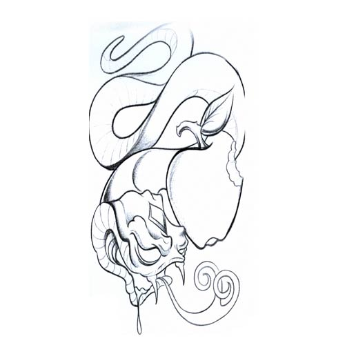 500x500 Snake And Outline Apple Tattoo Design