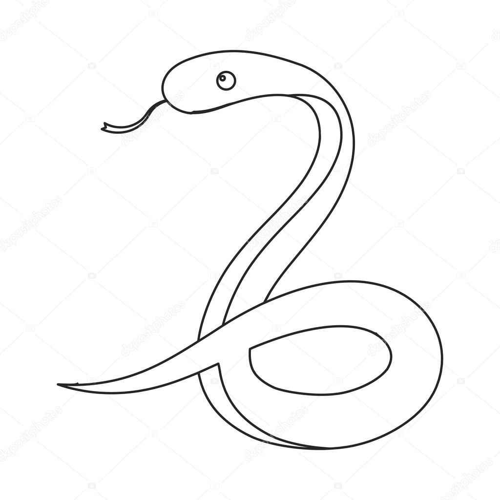 1024x1024 Snake Icon Outline. Singe Animal Icon From The Big Animals Outline