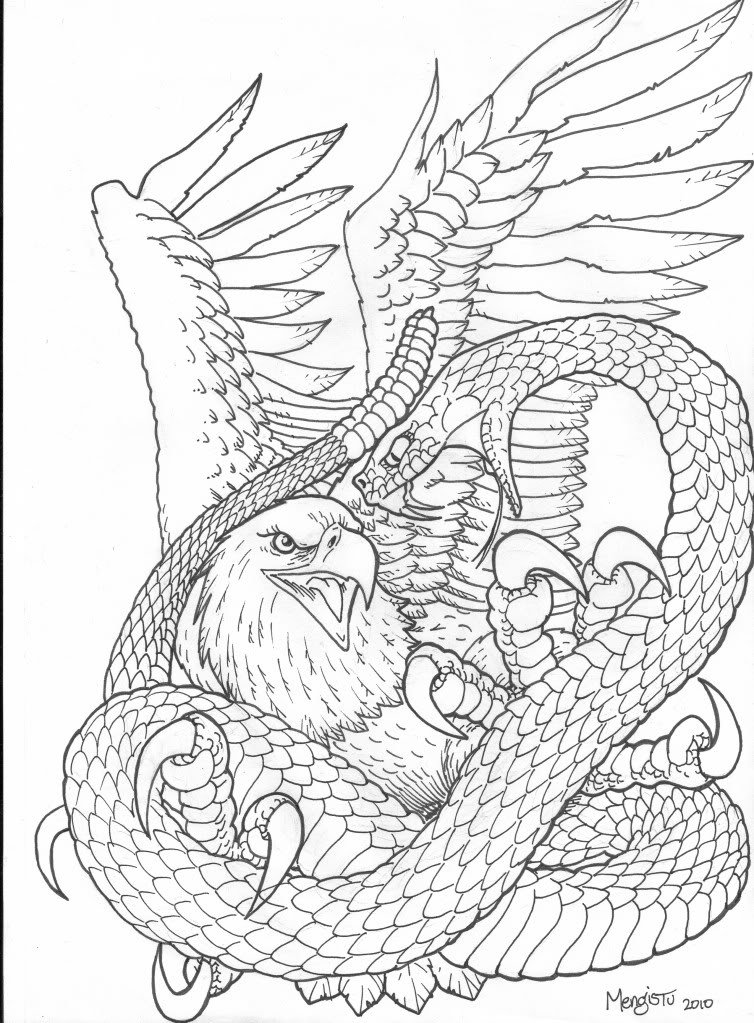 754x1023 Cool Black Outline Eagle With Snake Tattoo Stencil