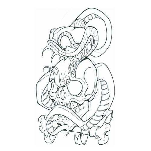 Snake Tattoo Line Drawing : Snake skeleton drawing at getdrawings free for