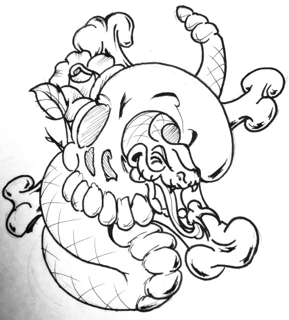 Snake Skull Drawing At Free For Personal Use Skeleton Top Diagram Images Pinterest 926x1024 New School Nu Skool Cartoony Cartoon Rose