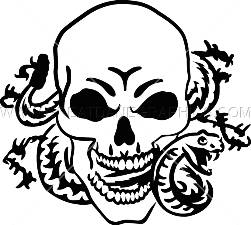 825x741 Skull Amp Snake Production Ready Artwork For T Shirt Printing