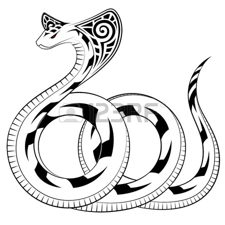 450x450 Snake, Cobra In The Form Of A Tribal Tattoo Royalty Free Cliparts
