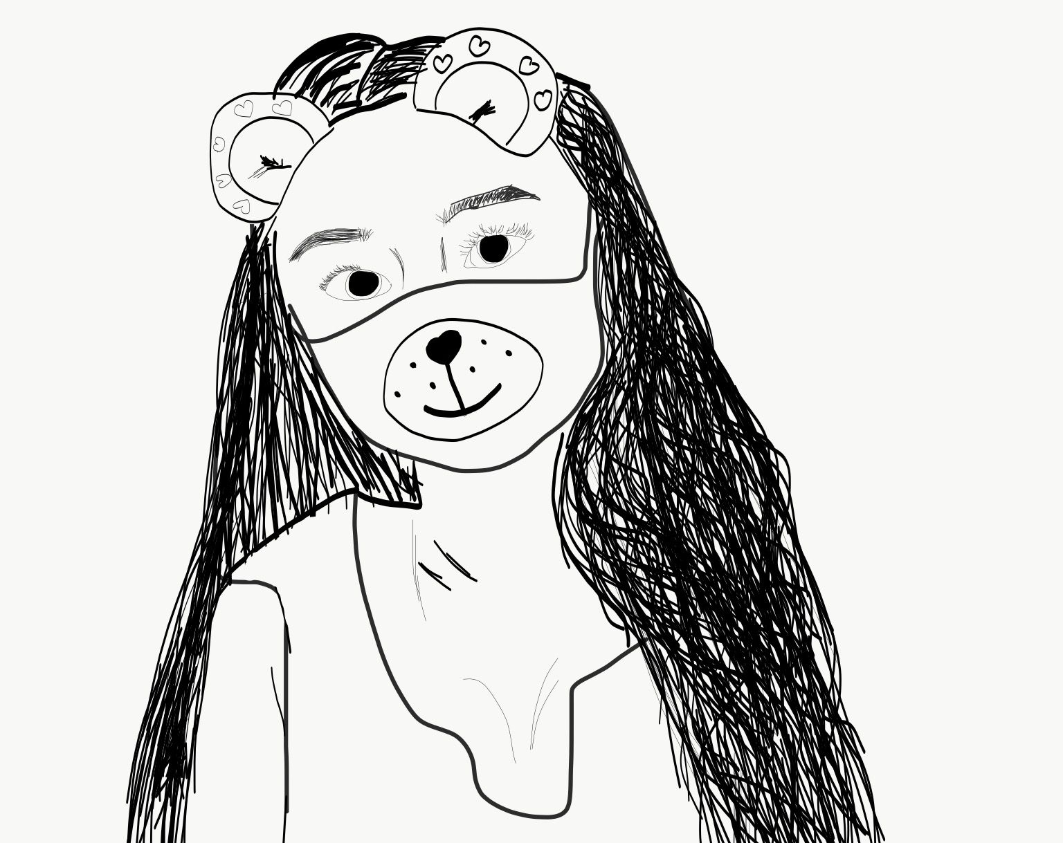 1536x1219 Outline Of A Girl With A Snapchat Filter. Outlines