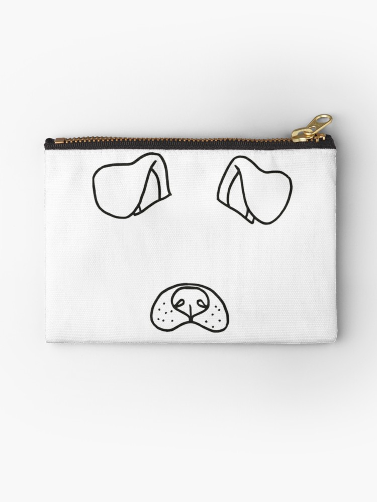 750x1000 Snapchat Dog Filter Studio Pouches By Emabee Redbubble