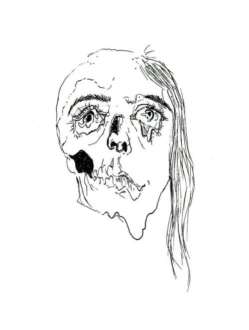 500x662 Skull Girl Sketch Tumblr