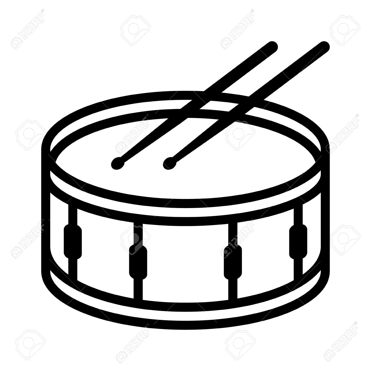 1300x1300 Snare Drum Or Side Drum With Drumsticks Musical Instrument Line