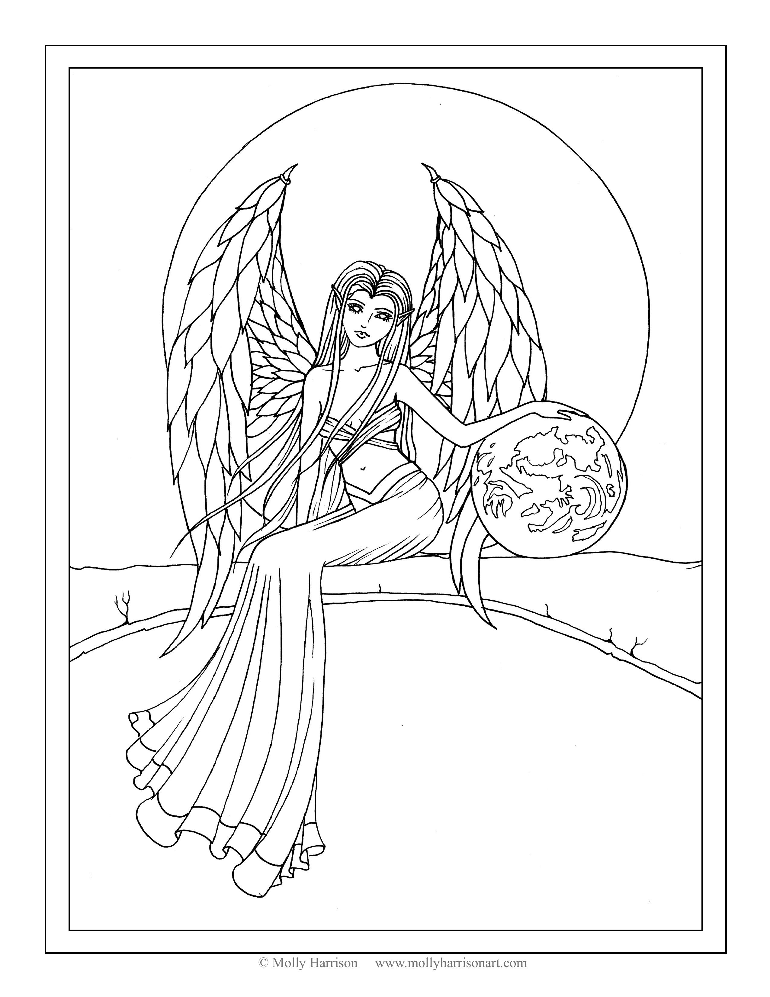 2550x3300 Garden Angel Coloring Page