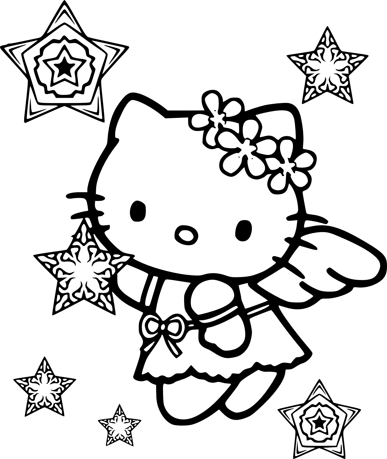 1646x1955 Hello Kitty Snow Angel Coloring Page