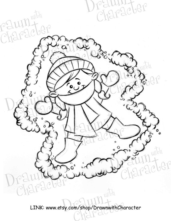 570x738 Kid Snow Angel Digital Clip Art Kopykake Image