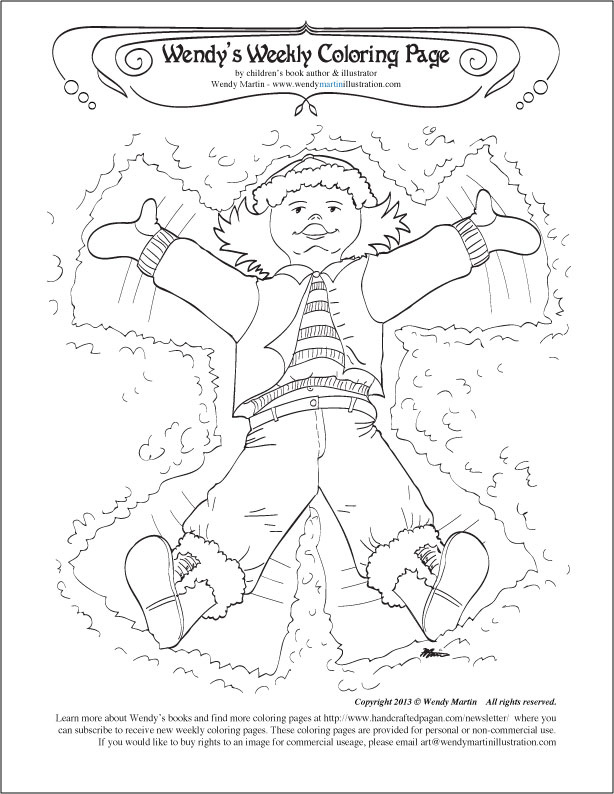 614x794 Making A Snow Angel Coloring Page