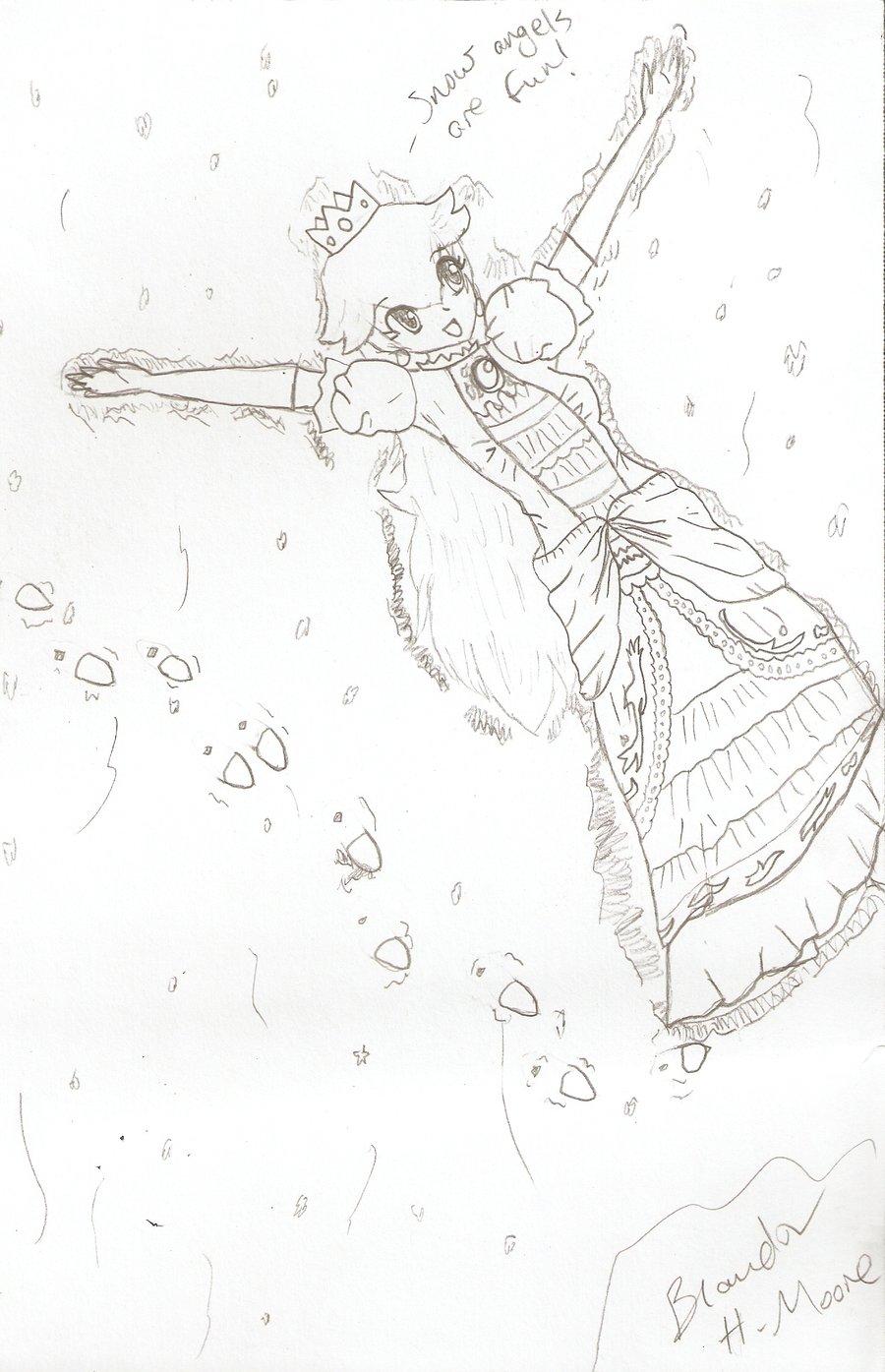 900x1395 Princess Peach And Snow Angels By Brandonecstasyidgaf