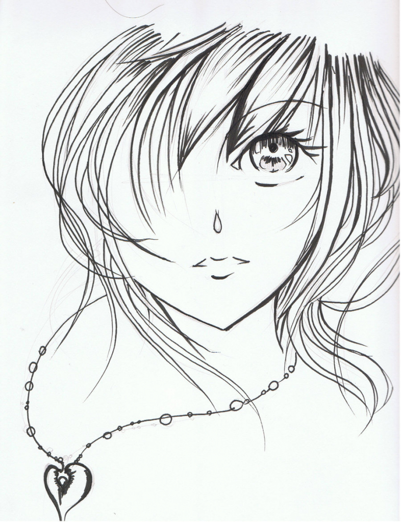 786x1024 Anime Girl Face Drawing Snow Angels Angel And Snow