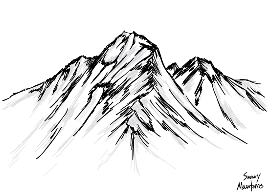 550x400 Drawings Snow Capped Mountain Range Shaded Version