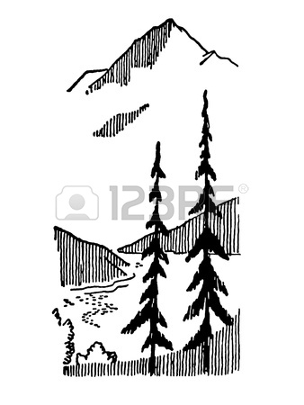 338x450 A Black And White Version Of A Graphical Print Of Snow Capped