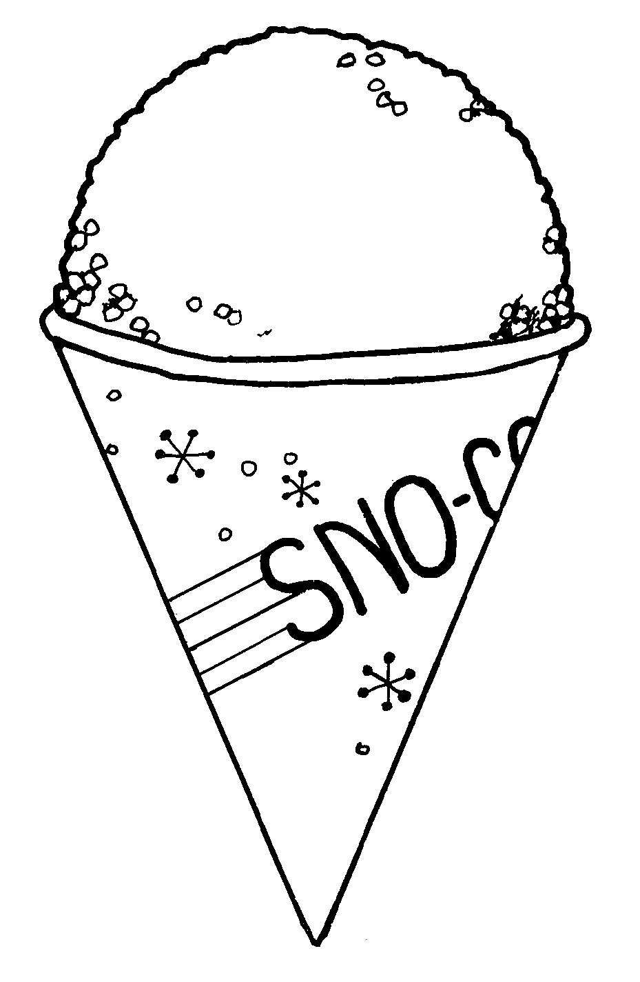 929x1424 Snow Cone Clipart Black And White