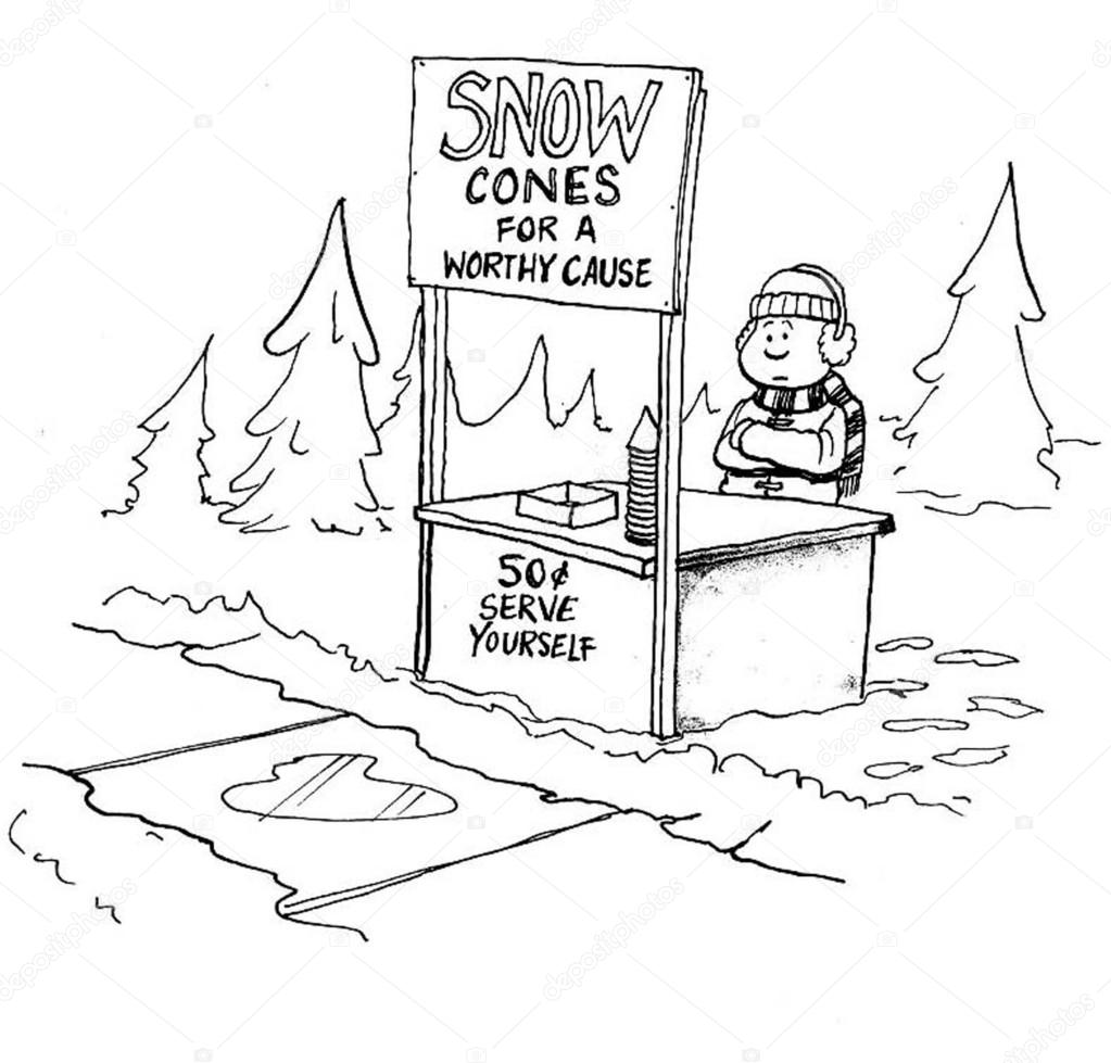 1023x979 Boy Sells Snow Cones. Cartoon Illustration Stock Photo